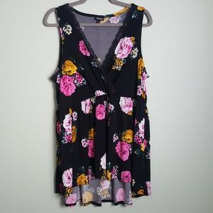 Torrid Black and Floral V tank with lace trim 2X